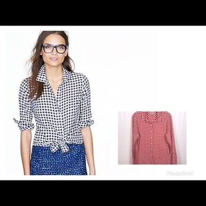 J. Crew Perfect Shirt Gingham Flannel RED sz 8